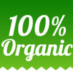 100% organic food labels set in ribbon style
